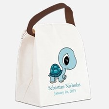CUSTOM Baby Blue Turtle w/Name and Date Canvas Lun