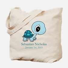 CUSTOM Baby Blue Turtle w/Name and Date Tote Bag