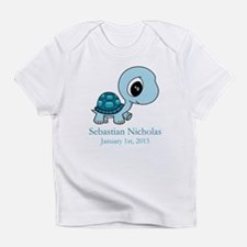 CUSTOM Baby Blue Turtle w/Name and Date Infant T-S