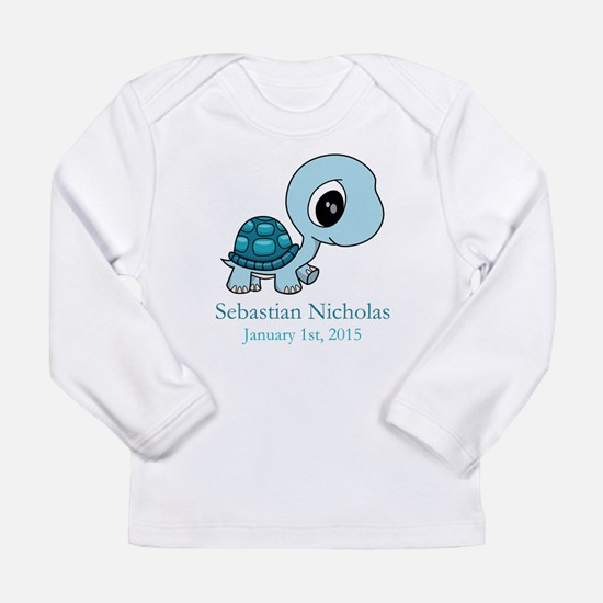 CUSTOM Baby Blue Turtle w/Name and Date Long Sleev