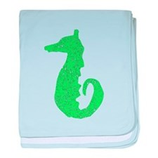 Distressed Green Seahorse baby blanket