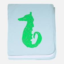 Distressed Green Seahorse baby blanket