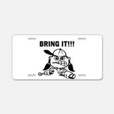 Mean Softball Player Aluminum License Plate