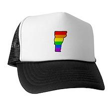 Rainbow Striped State Trucker Hat