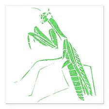 Distressed Green Preying Mantis Square Car Magnet