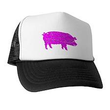 Distressed Pink Pig Trucker Hat
