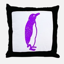 Distressed Purple Penguin Throw Pillow