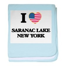 I love Saranac Lake New York baby blanket