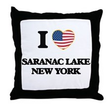 I love Saranac Lake New York Throw Pillow