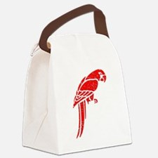 Distressed Red Parrot Canvas Lunch Bag