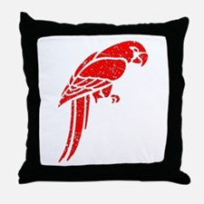 Distressed Red Parrot Throw Pillow