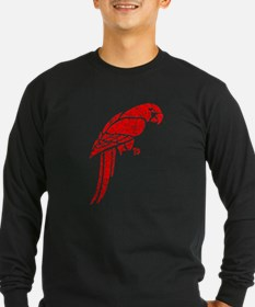 Distressed Red Parrot Long Sleeve T-Shirt