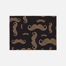 Retro Moustache Pattern 5'x7'Area Rug
