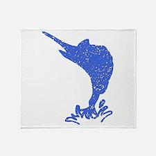 Distressed Blue Marlin Throw Blanket
