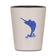 Distressed Blue Marlin Shot Glass