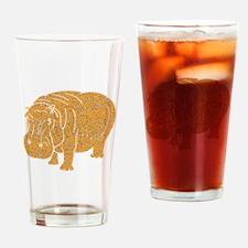 Distressed Brown Hippopotamus Drinking Glass