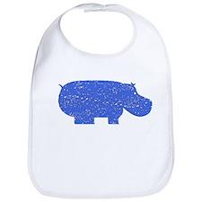 Distressed Blue Hippopotamus Bib