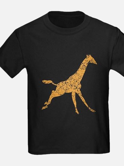 Distressed Brown Giraffe Running T-Shirt