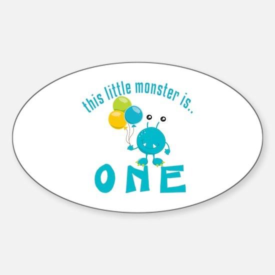 1st Monster Birthday Sticker (Oval)