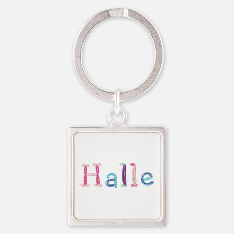 Halle Princess Balloons Square Keychain