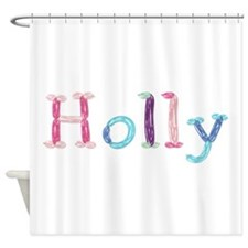 Holly Princess Balloons Shower Curtain