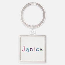 Janice Princess Balloons Square Keychain