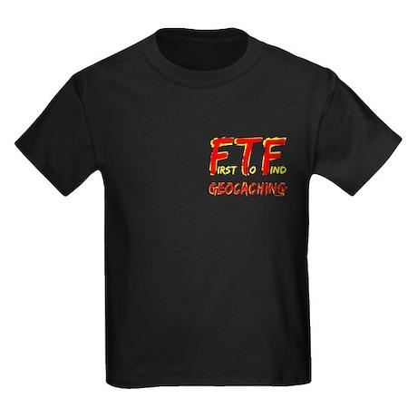 FTF Geocaching Pocket Image Kids Dark T-Shirt