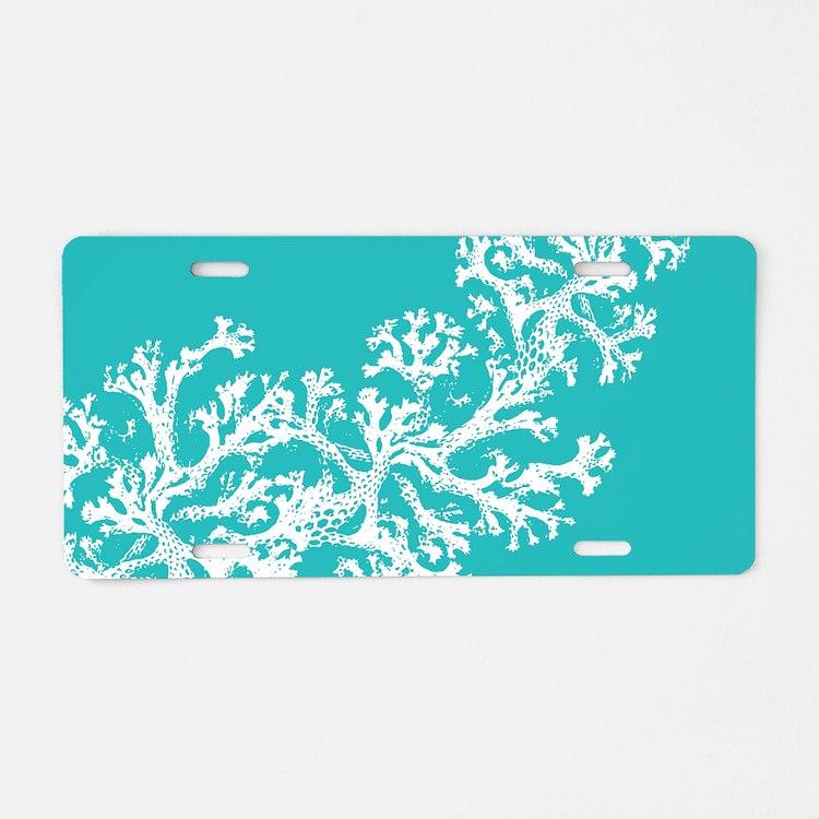 Cute Coral Aluminum License Plate