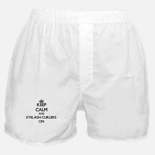Keep Calm and Eyelash Curlers ON Boxer Shorts