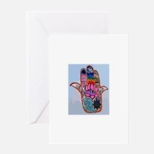 Hamsa With Buddhism Greeting Cards