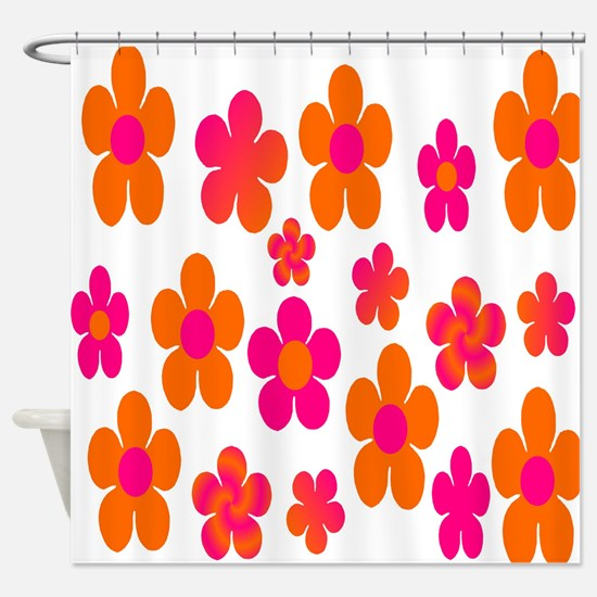 orange floral shower curtain. Hot pink and orange floral Shower Curtain Pink Orange Curtains  CafePress
