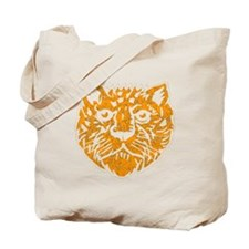 Distressed Orange Leopard Face Tote Bag