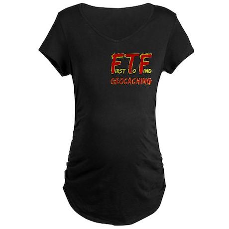 FTF Geocaching Pocket Image Maternity Dark T-Shirt