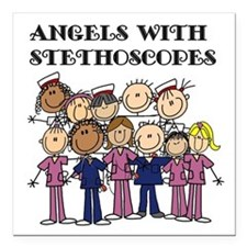 """Angels With Stethoscopes Square Car Magnet 3"""" x 3"""""""