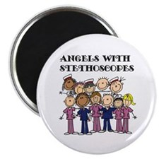 """Angels With Stethoscopes 2.25"""" Magnet (10 pack)"""