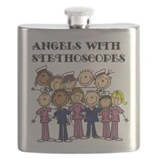 Angels With Stethoscopes Flask