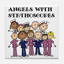 Angels With Stethoscopes Tile Coaster