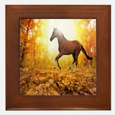 Horse Autumn Framed Tile