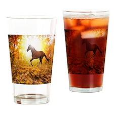 Horse Autumn Drinking Glass