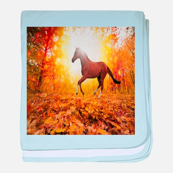 Horse Autumn baby blanket