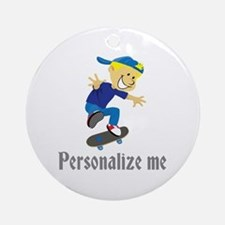 Personalize Boy On A Skateboard Ornament (Round)