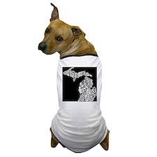 Michigan white on black Dog T-Shirt