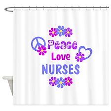 Peace Love Nurses Shower Curtain