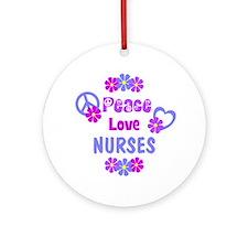 Peace Love Nurses Ornament (Round)