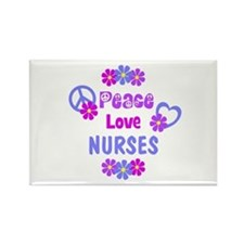 Peace Love Nurses Rectangle Magnet