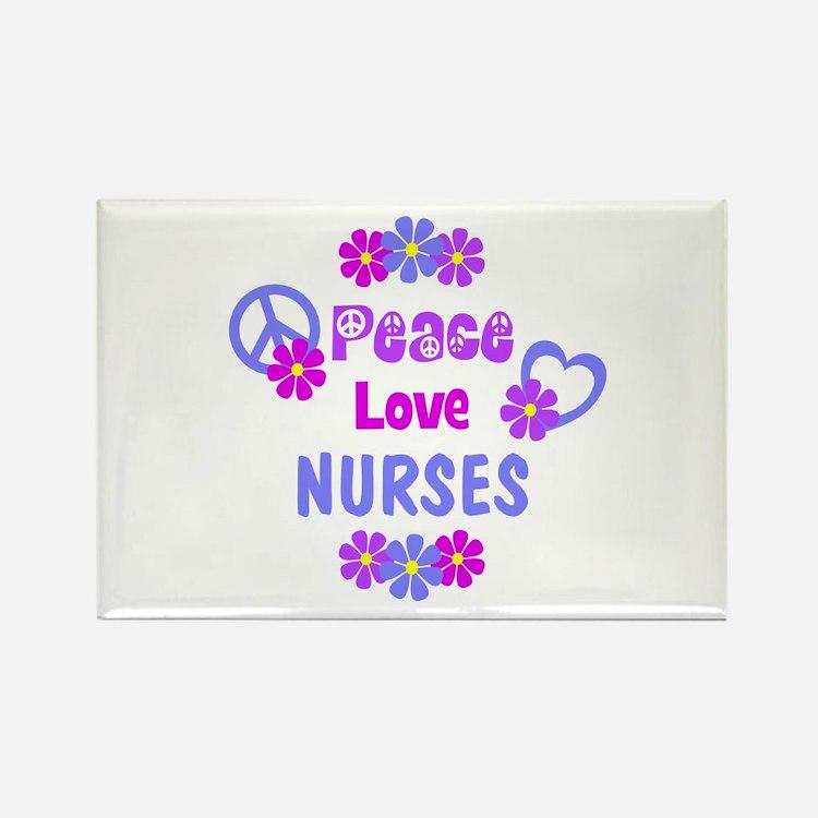 Peace Love Nurses Rectangle Magnet (100 pack)