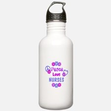 Peace Love Nurses Sports Water Bottle