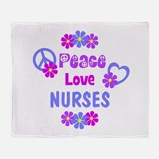 Peace Love Nurses Throw Blanket