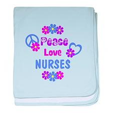 Peace Love Nurses baby blanket
