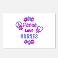 Peace Love Nurses Postcards (Package of 8)